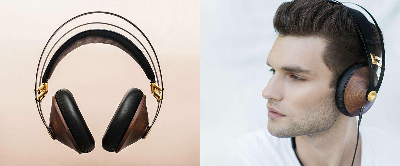 Stijlvolle koptelefoon met notenhouten details