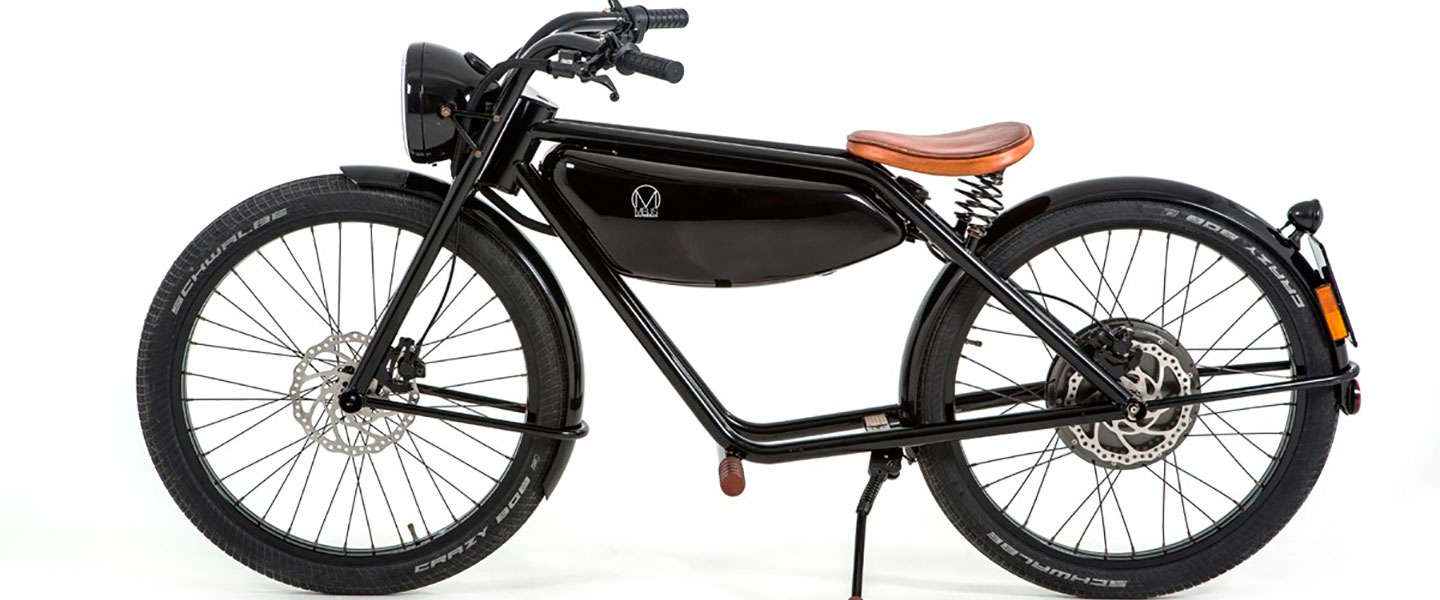 Vintage design voor elektrische moped. Hier is de Motorman.