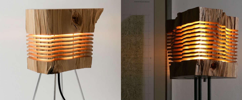 hebben coole houten designlamp van split grain