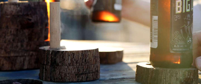 DIY stoere houten onderzetters