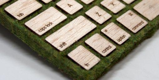 Apple Keyboard gemaakt van Mos en Hout