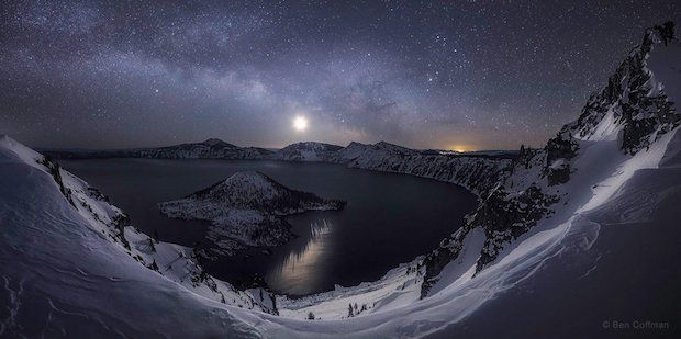 De melkweg in Crater Lake National Park in Oregon
