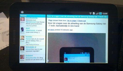 de Samsung Galaxy tab in gebruik