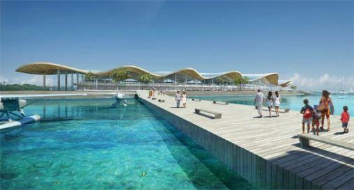 Het futuristische vliegveld van de Malediven
