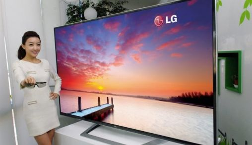 LG 84 inch 3D Ultra Definition TV tijdens CES 2012