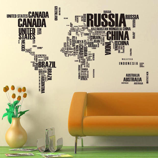 muursticker engels wereldkaart
