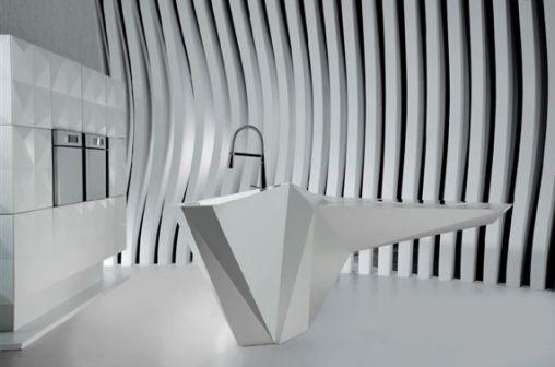Keuken Van Corian : Outerspace Origami Island Keuken van Corian