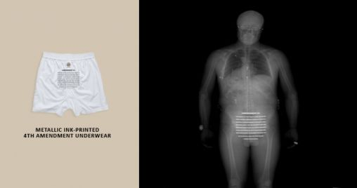 Protest tegen de Full-Body Scan met 4th Amendment Wear