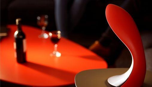Rode designlamp van Fonckel