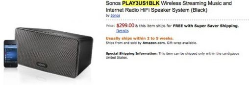 Sonos S3 of Play:3 all-in-one Speaker