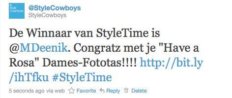 StyleTime Winnaar 24 januari