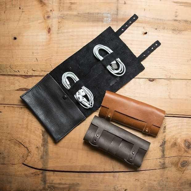 Leather Cord Wrap: oortjes en opladers netjes en stijlvol opgeruimd