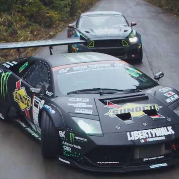 Gave video: drift battle tussen een Lamborghini en een Mustang
