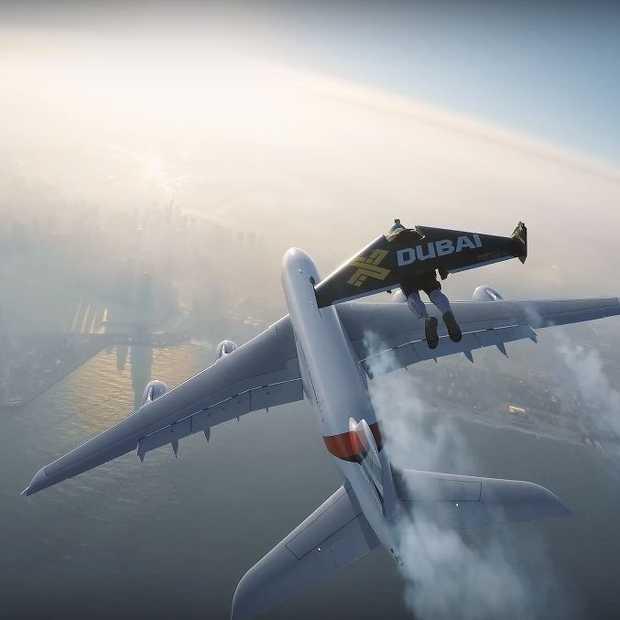 Mega vette stunt met jetpacks en een airbus A380 in Dubai