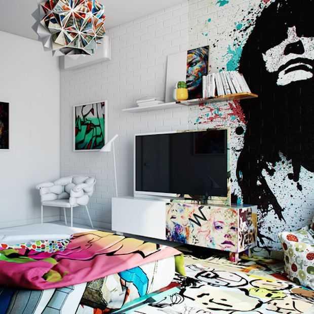 Te gekke hotelkamer: half minimalistisch, half street art