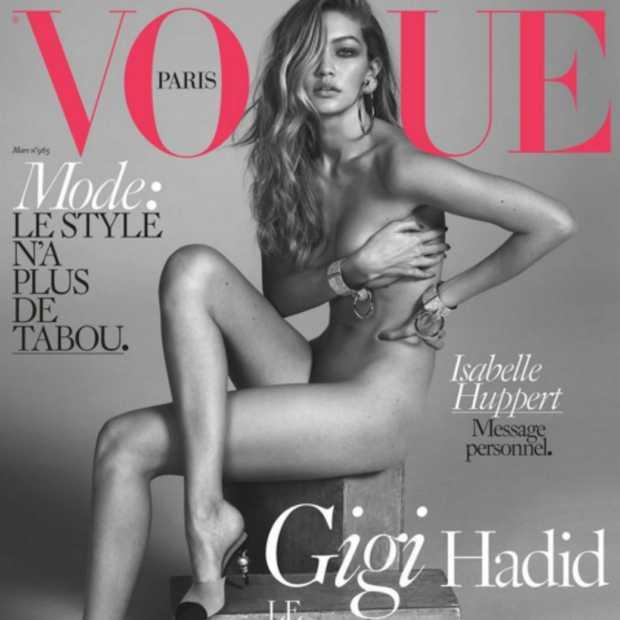 Gigi Hadid poseert naakt op de cover van Vogue