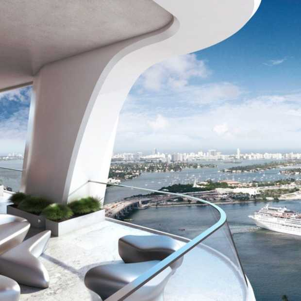 Dit is een van de hoogste wolkenkrabbers in hartje Miami