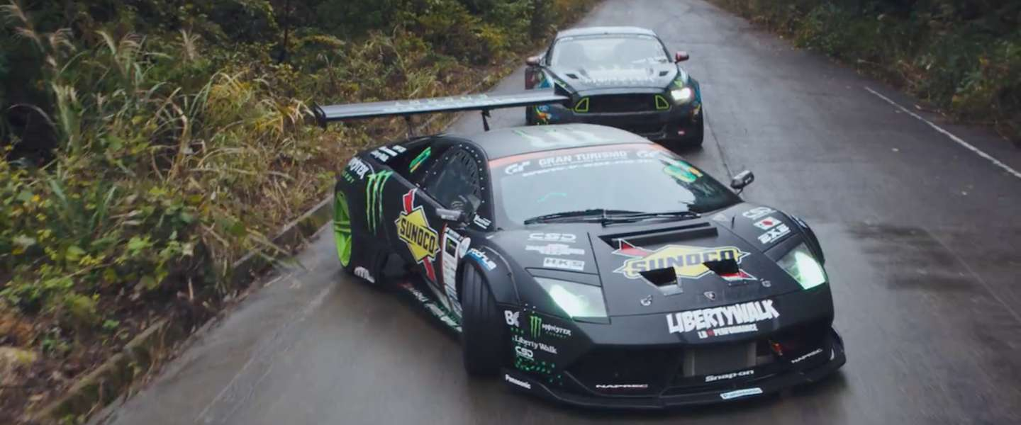 Gave video: drift battle tussen een Lamborghini en een Mustang