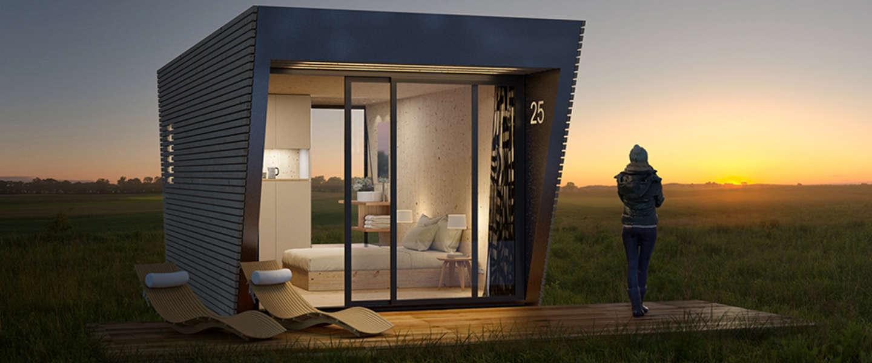 De Drop-box: modulair en tijdelijk onderkomen in natuurlijke stijl