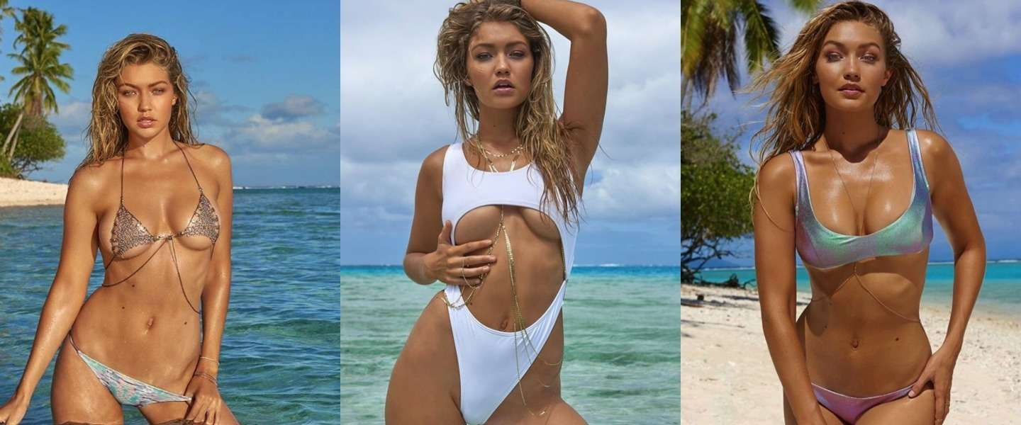 Sexy Gigi Hadid in bikini op Tahiti in Sports Illustrated