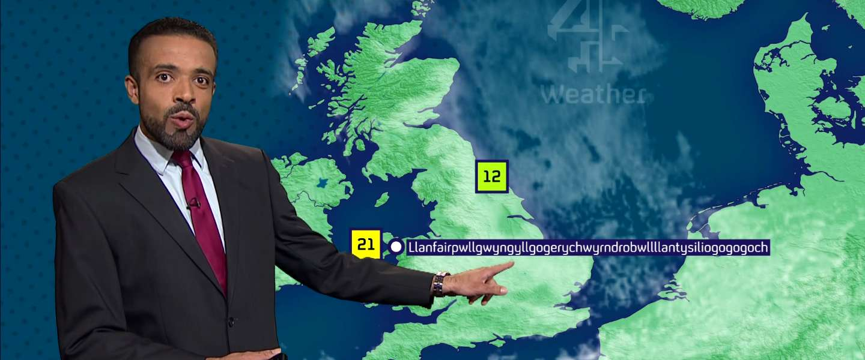 Video: deze weerman spreekt 58-letterige plaatsnaam in Wales uit alsof het niks is