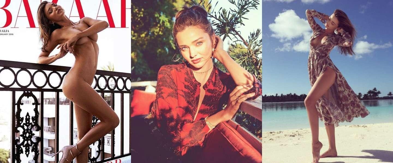 Miranda Kerr poseert naakt op de cover van Harper's Bazaar