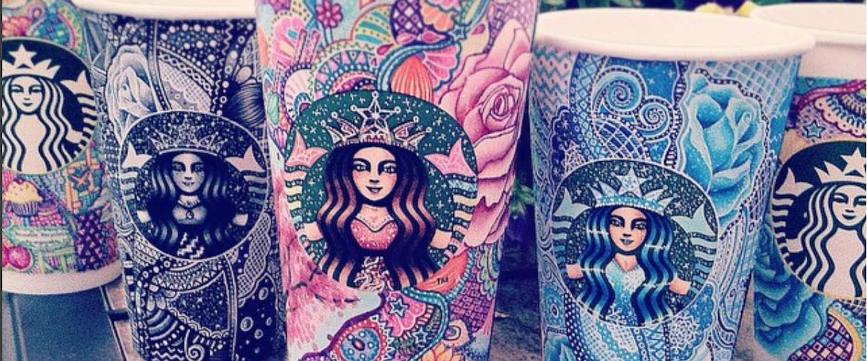 Bekers van Starbucks worden kleurrijke meesterwerken