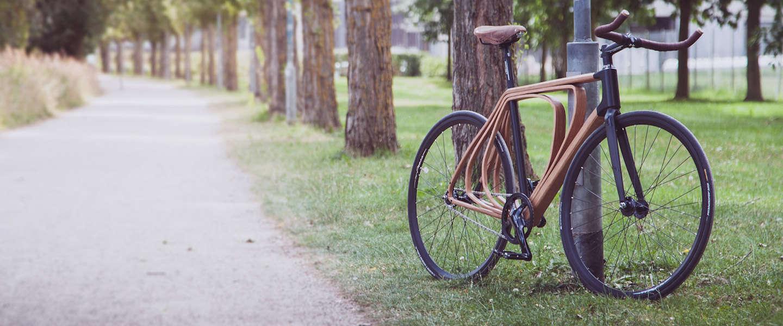 Gave designfiets met houten frame