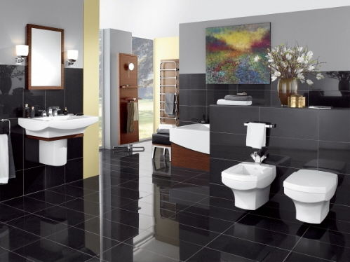 black bathroom tile