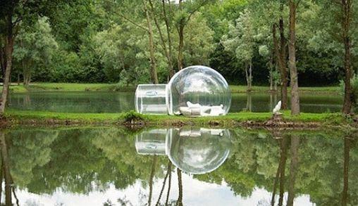 De draagbare en opblaasbare hutten van BubbleTree