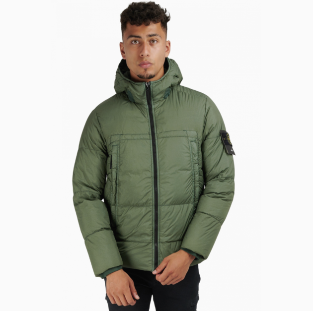 Garment Dyed Stone Island Crinkle Reps NY Down Jacket Green Groen
