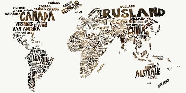 nederlandse wereldkaart aan de muur