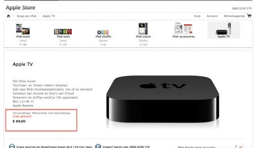 Prijs Apple TV €119 €109 of €89