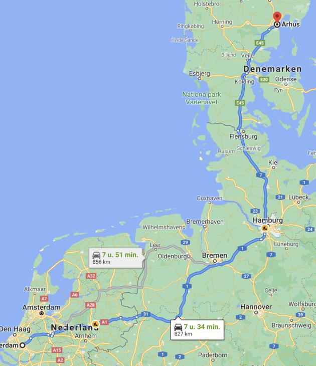 Route naar Denemarken Jutland