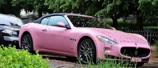 Roze Maserati GranCabrio te Roze voor Stoere Cowboys