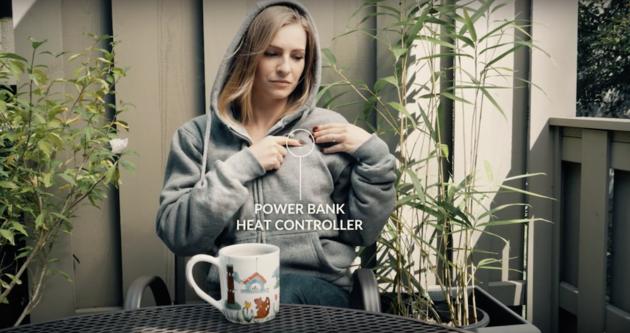 Deze trui wordt verwarmd met een powerbank