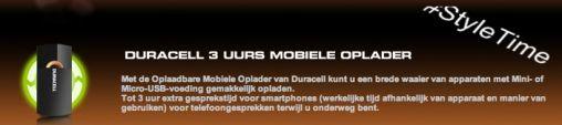 #StyleTime: Maak kans op een Duracell Oplader voor je Smartphone