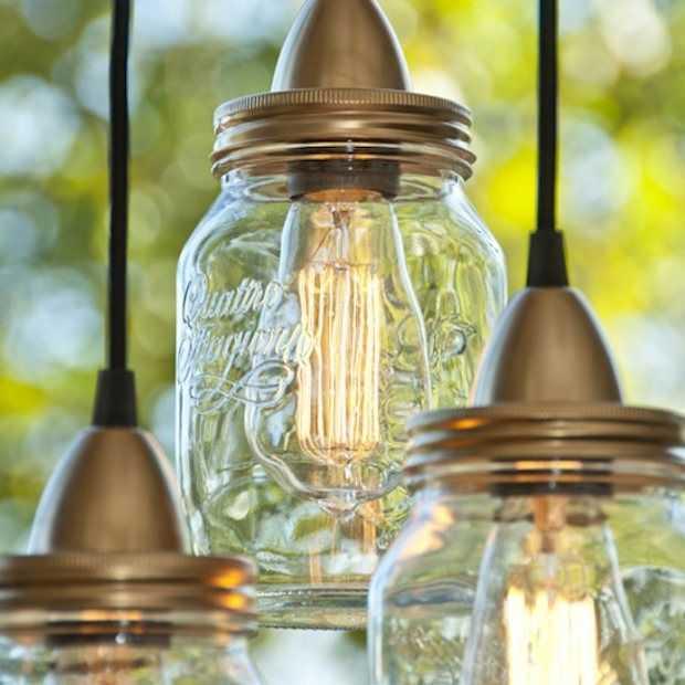 DIY: stijlvolle lamp van glazen potten